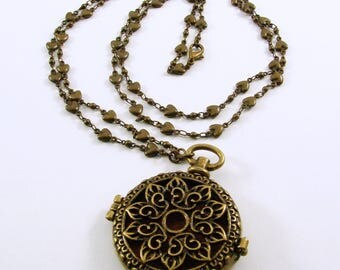 Antique Brass Aromatherapy Pendant on Antique Brass Long Chain Necklace