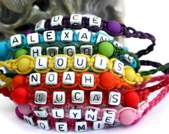 Children name bracelet handmade adjustable custom and beaded