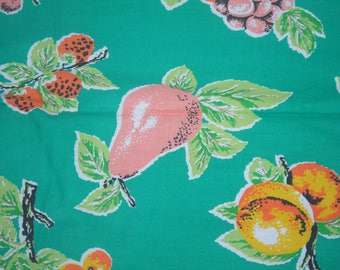 Vintage Cotton Fabric Remnant. Medium Weight.  1 Yard by 46 Inches. ( 91.5 X 117 cm ) Bright Green With Fruits in Pink, Yellow, Orange.