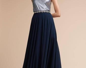 Long Navy Chiffon Skirt, Maxi Circle Skirt