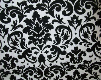 Classic Black & White Damask Fabric Sold per Yard for Quilting, Clothing, Decorating