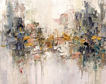 """Original abstract expressionism acrylic painting paperwork - """"Silent Side"""""""