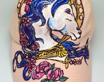 Hand Painted Tattoo Illustratrated Fantasy Unicorn Style  Baby Pink Hat (Free Size 100% Cotton)