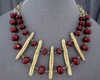 tribal necklace crystal necklace, burgundy bead necklace, beaded necklace, double strand necklace, tribal jewelry, beaded jewelry, maroon