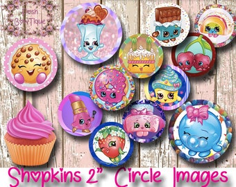"""Shopkins Cupcake Toppers. 2"""" Circle Cake Decorations. Party Supplies. Scrapbooking. Crafts"""