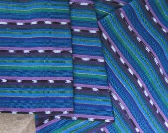 Guatemalan Ikat Fabric in Blue and Purple Stripes