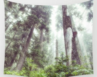 Tapestry, Dreamy, Forest, Trail, Trees, Evergreens, Fog, Wall Hanging, Green, 3 Sizes