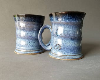 Set of 2 Spiral Twist Coffee Mugs Twilight Blue Black Speckled Glaze