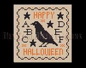 Halloween Sampler, Primitive Halloween Sampler Cross Stitch, Small Sampler Cross Stitch, Small Crow Cross Stitch NewYorkNeedleworks Etsy