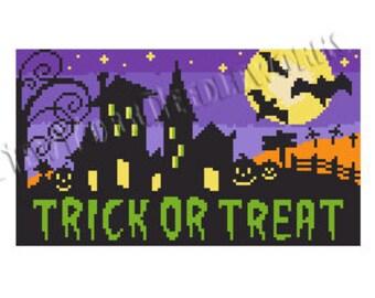 Halloween Cross Stitch, Halloween Pattern, Trick or Treat Pattern, Holloween, Spooky House Cross Stitch, Bats, from NewYorkNeedleworks Etsy