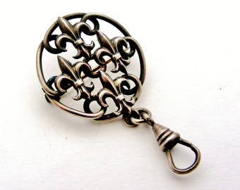 French antique fleur de lis watch fob brooch in silver plate
