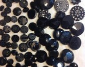 Destash One hundred and nine Vintage and Antique Black Glass Buttons Various Styles - minor condition issues make them perfect for crafting