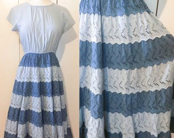 60s eyelet dress, chambray swing dress, Japanese vintage Xs S