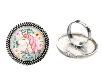 Unicorn with Yellow Background Glass 25mm Cabochon Silver Double Rope Adjustable Ring
