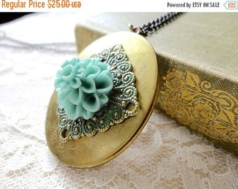 25% OFF SALE Large oval locket necklace decorated with green patina filigree and turquoise chrysanthemum, long necklace, locket jewelry, Mad