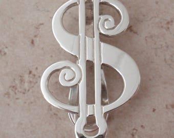 Sterling Money Clip Dollar Sign R Blackinton Vintage 111616BT