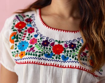 Hand embroidered peasant blouse from oaxaca