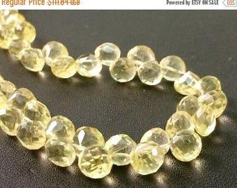 ON SALE 55% Lemon Quartz Onion Beads, Faceted Lemon Quartz Onion Briolettes, Quartz Necklace, 6-7mm, 8 Inch, 55 Pcs - VCA10