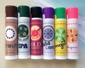 Any 6 cocktail-flavored lip balms - wine lip balm - Gin & Tonic, Cuba Libre lip balm, Margarita flavored lip balm and more - beer lip balm