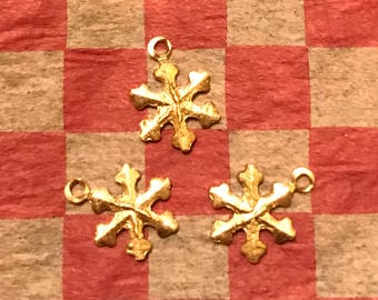 """Snowflake Brass Charms (3/8"""" ~3  to a package)"""