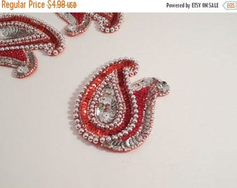 ON SALE Red and Silver Beaded Paisley Duo Applique--One Piece