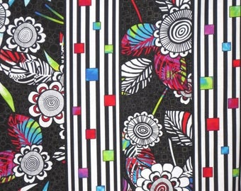 ON SALE Black and White with Brights Graphic Anything Goes Stripe Print Pure Cotton Fabric--By the Yard