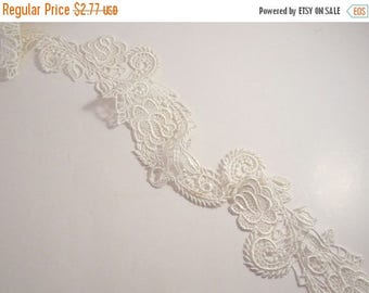 ON SALE SPECIAL--Ivory Delicate Florentine Design Venise Lace Trim--One Yard