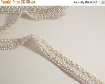 ON SALE Lovely Pearl White and Silver Beaded Trim--By The Yard