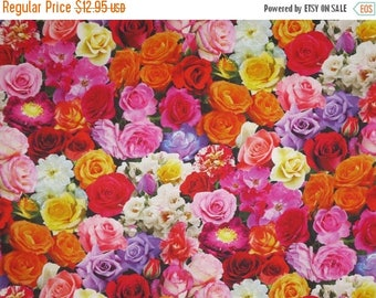 ON SALE Colorful Packed Roses Digital Print Pure Cotton Fabric--By the Yard