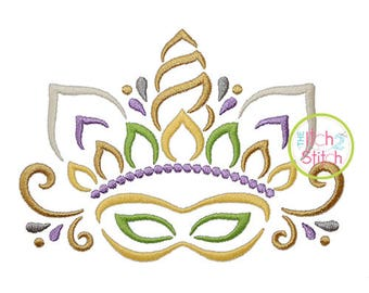 Unicorn Horn Mardi Gras Mask Embroidery Design for Embroidery Machines, INSTANT DOWNLOAD now available