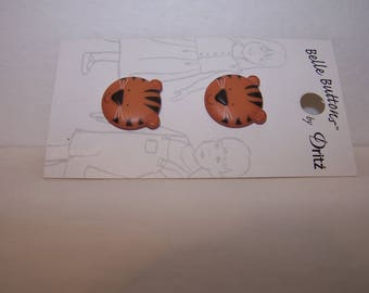 Two tiger buttons with smiley faces 20 mm or 13/16 inch