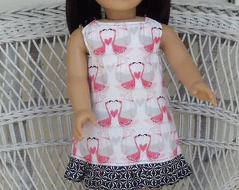 Pink and Gray Flamingo Ruffled Doll Dress Handmade To Fit 18 Inch Dolls Like American Girl Doll