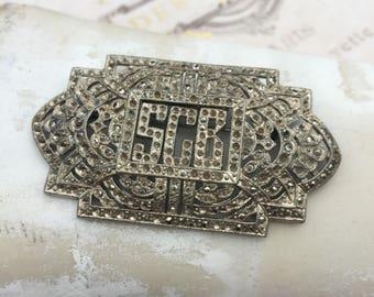 Vintage 1930's Pot Metal Marcasite Monogram Brooch, Estate Jewelry