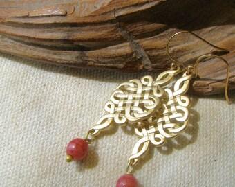 rose and gold filigree dangle earrings
