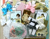 Sewing Sweet Stitches Deluxe Creativity Kit Polly's Paper Studio 80 Piece Paper Images Bows Doilies Pearls Clips
