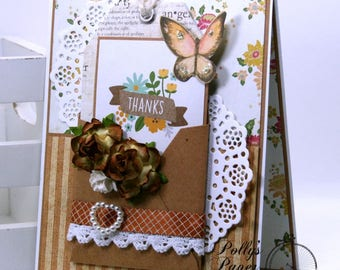 Thank You Tiny Envleope Greeting Card Gold Polly's Paper Studio Handmade