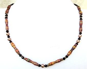 Multicolor Striped Beaded Necklace Mocha Faceted Crystals Handmade Paper Beads Gold Pearls Dainty Jewelry / Matching Earrings Available