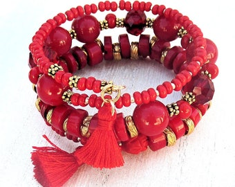 Red Bracelet, Coral Bead Bracelet, Memory Wire Bracelet, Coral Tassel Bracelet, Scarlet and Gold Multistrand Bracelet / One Size Fits Most