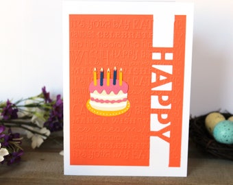 Handmade Birthday Card Embossed and Crafted Orange, Blank Inside, Free US Shipping, 1 Business Day Shipping