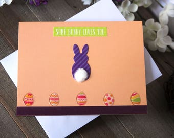 Handmade Easter Card, Bunny, Easter Eggs, Purple Green Orange, Blank Inside, Free US Shipping, Unique, One of a Kind