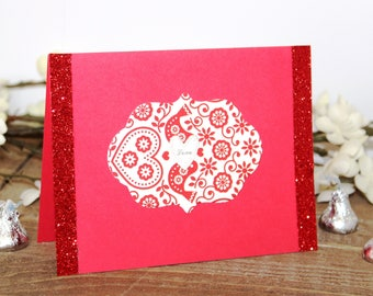 Handmade Valentine's Day Card, Red White, Paisley, Glitter, Ribbon,Unique, One of a Kind, Free US Shipping