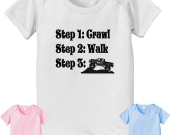 FLASH SALE short sleeve and long sleeve Future Off Roading steps crawl walk infant baby bodysuit. white pink or baby blue color off road 4x4
