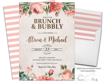 Brunch and Bubbly Invitation - Couples Bridal Invitation - Couples Engagement Invitation - Coed Bridal Shower - Rustic Bridal Invitation