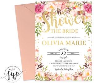 Boho Bridal Shower Invitation Printable Floral Bridal Shower Invite Boho Bridal Invitation Boho Bridal Invite Hens Night Wedding Shower