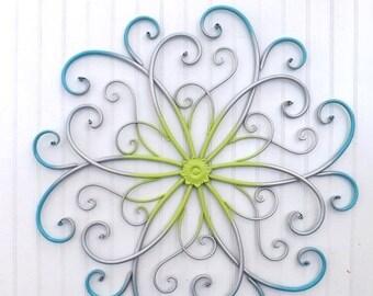 ON SALE Large Metal Wall Art / Bedroom Wall Decor / Turquoise / Silver / Lime / Metal Wall Decor