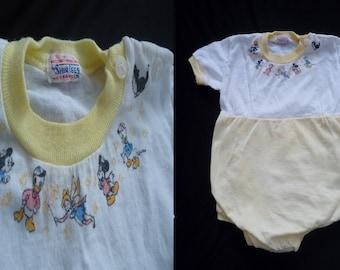 Mickey Mouse Walt Disney Vintage 1950's Unisex Yellow Baby Romper 18 Mo