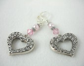 Heart earrings, silver open hearts with pink pearls and crystals on lever back earrings, Mother's Day jewelry