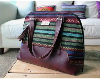 Bornonia handbag - Aztec handbag - burgundy leather handbag - tribal handbag - blue bags -