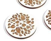 White Leaf / Maple Wood Coaster Set