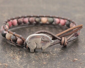 Pig Jewelry Silver Pink Gray Pig Bracelet Gemstone and Leather Wrap Bracelet